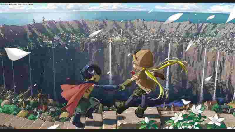 A destra Riko, una ragazzina bionda vestita da esploratrice, a sinistra Reg, un ragazzino che indossa un mantello rosso. I due si tengono per mano davanti all'ingresso per l'abisso.