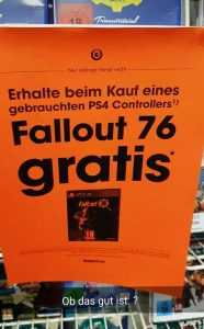 gamestop germania regala fallout 76 con l'acquisto di un pad usato