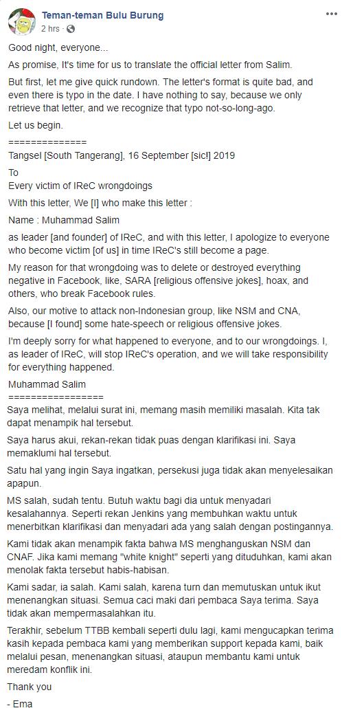 Le scuse pubblicate su Facebook