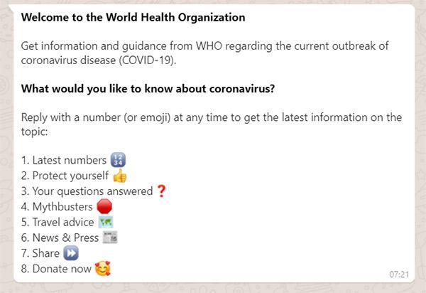OMS Coronavirus WhatsApp