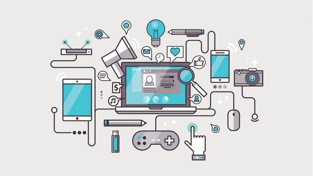 illustrazione di dispositivi elettronici: smartphone, tv, gamepad, eccetera
