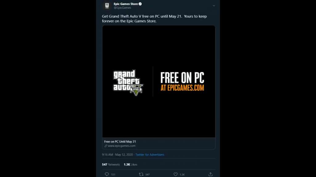 Epic Games tweet GTA V