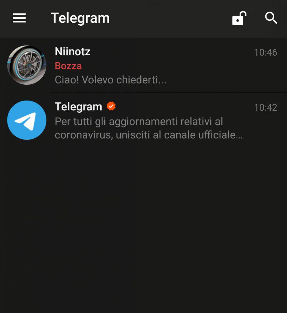 screenshot: bozza in cloud telegram