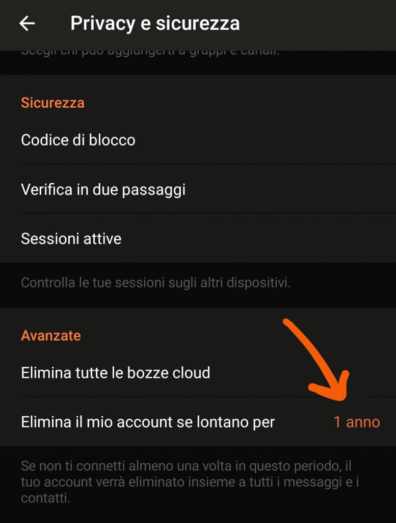 screenshot: impostare eliminazione account dopo 1 anno Telegram