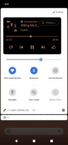 Android 11 Media Player nei Quick Settings expanded