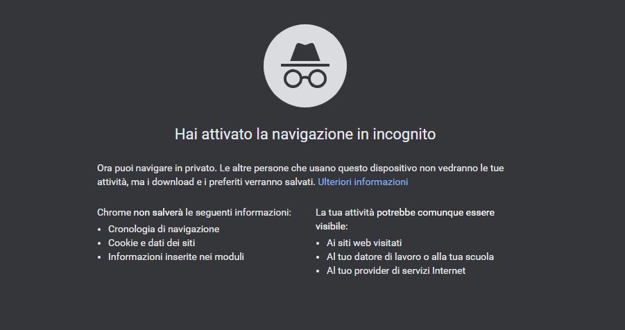 Modalità Incognito Google Chrome