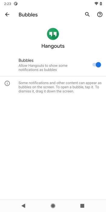 bubbles notifications android 11