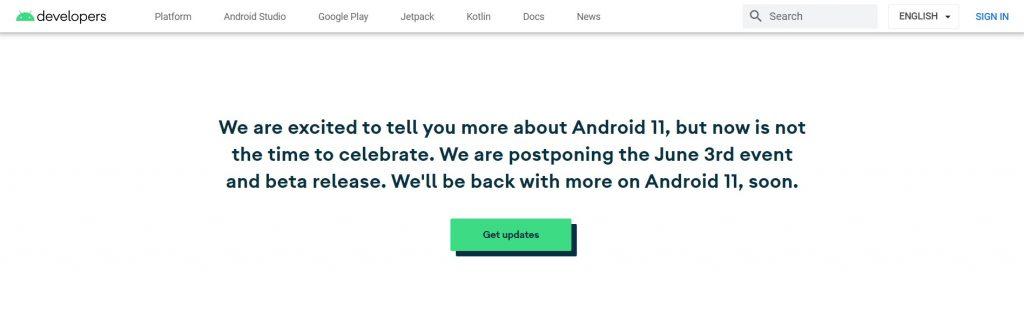 messaggio rinvio evento android 11 beta 1