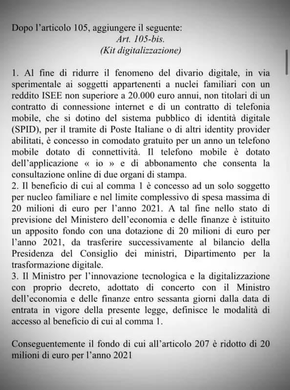 Kit digitalizzazione governo italiano smartphone in comodato gratuito