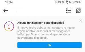 Instagram Facebook notifica funzioni non disponibili
