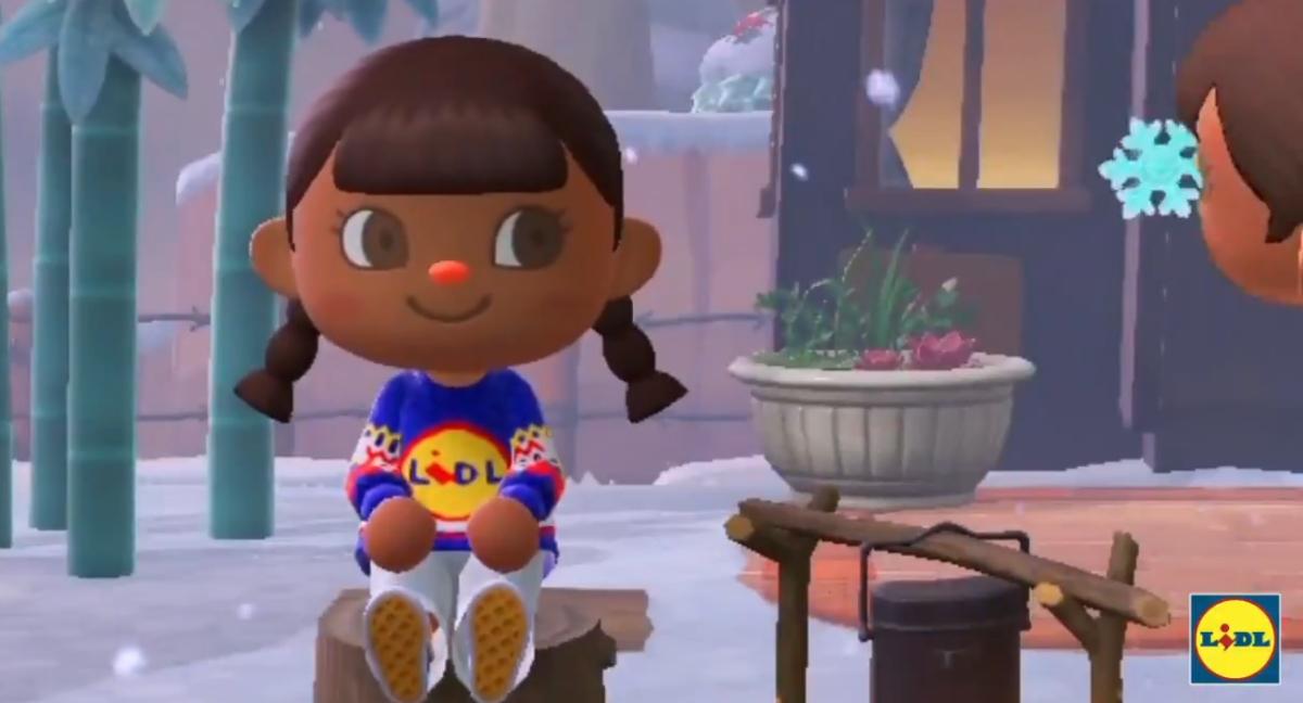 Personaggio di Animal Crossing: New Horizons che indossa il maglione Lidle