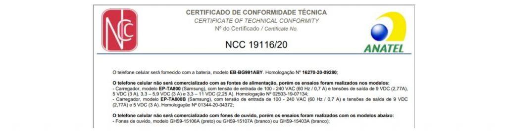 Samsung Galaxy S21 certificazione Anatel Brasile