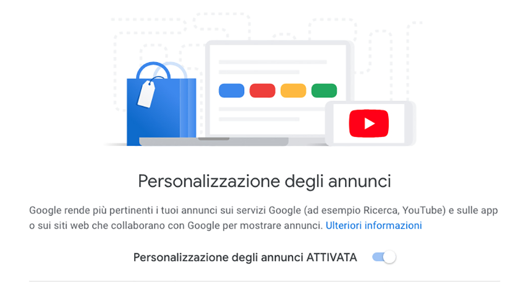 google personalizzazione annunci
