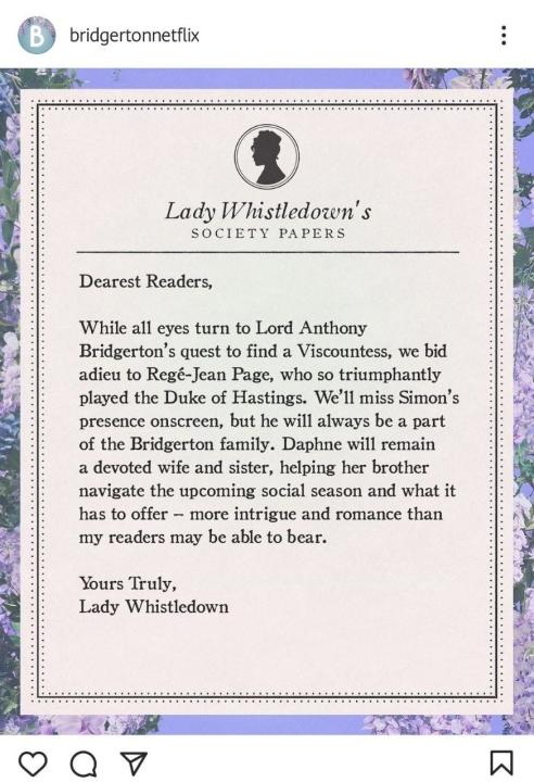 Lady Whisteldown annuncia che il duca di Hastings sarà assente nella seconda stagione