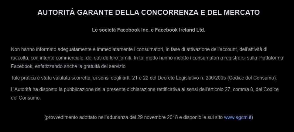 Facebook AGCM multa 7 milioni di euro
