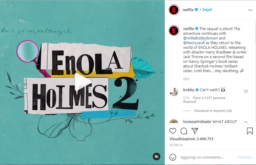 Instagram netflix enola holmes 2
