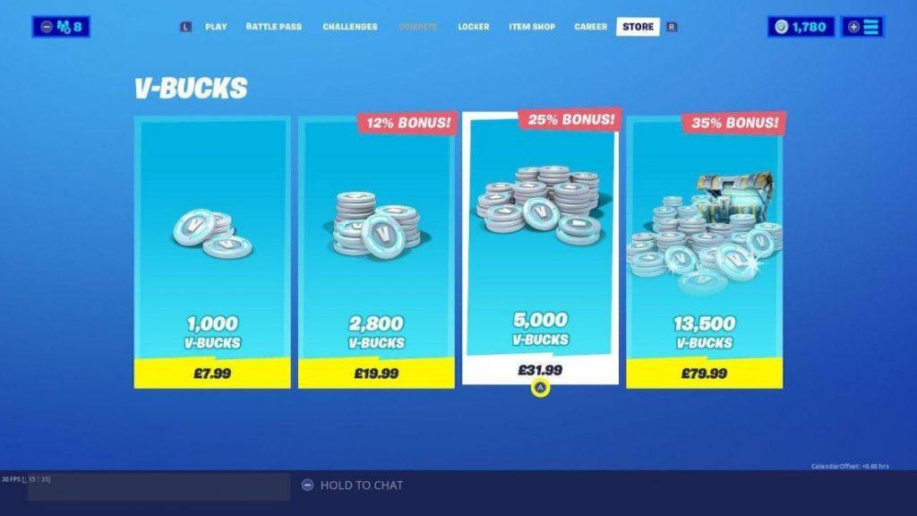 fortnite v-bucks su epic games store