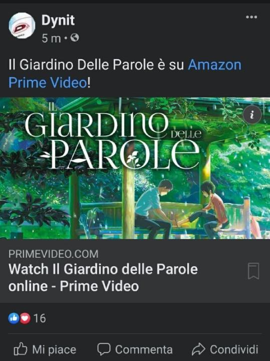 Il Giardino delle Parole di Makoto Shinkai disponibile su Amazon Prime Video