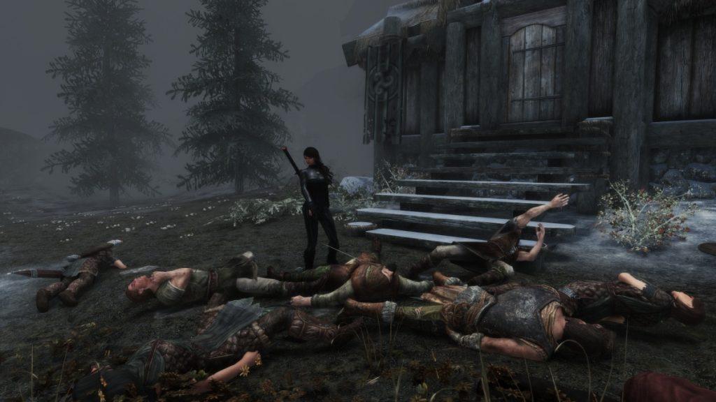 Screenshot del massacro su Skyrim
