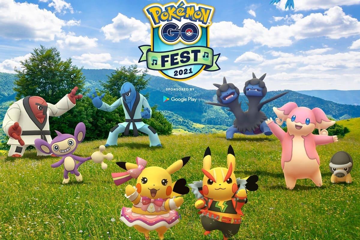 Pokemon GO Fest 2021, vari pokémon in un prato