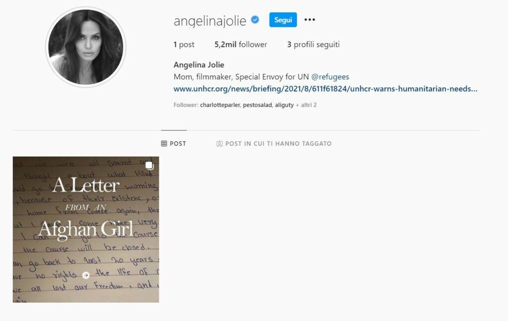 angelina jolie instagram lettera