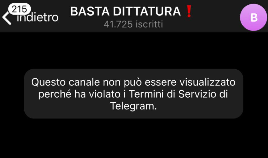 Basta Dittatura Telegram