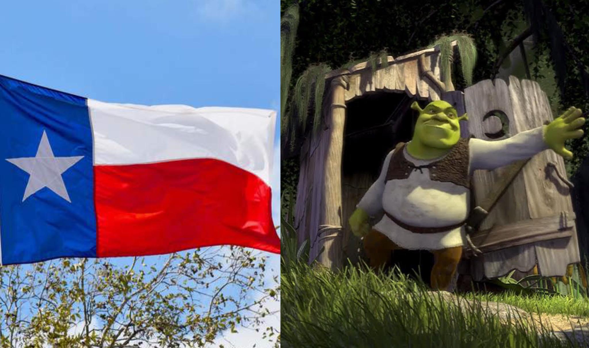 Shrek e Bandiera del Texas