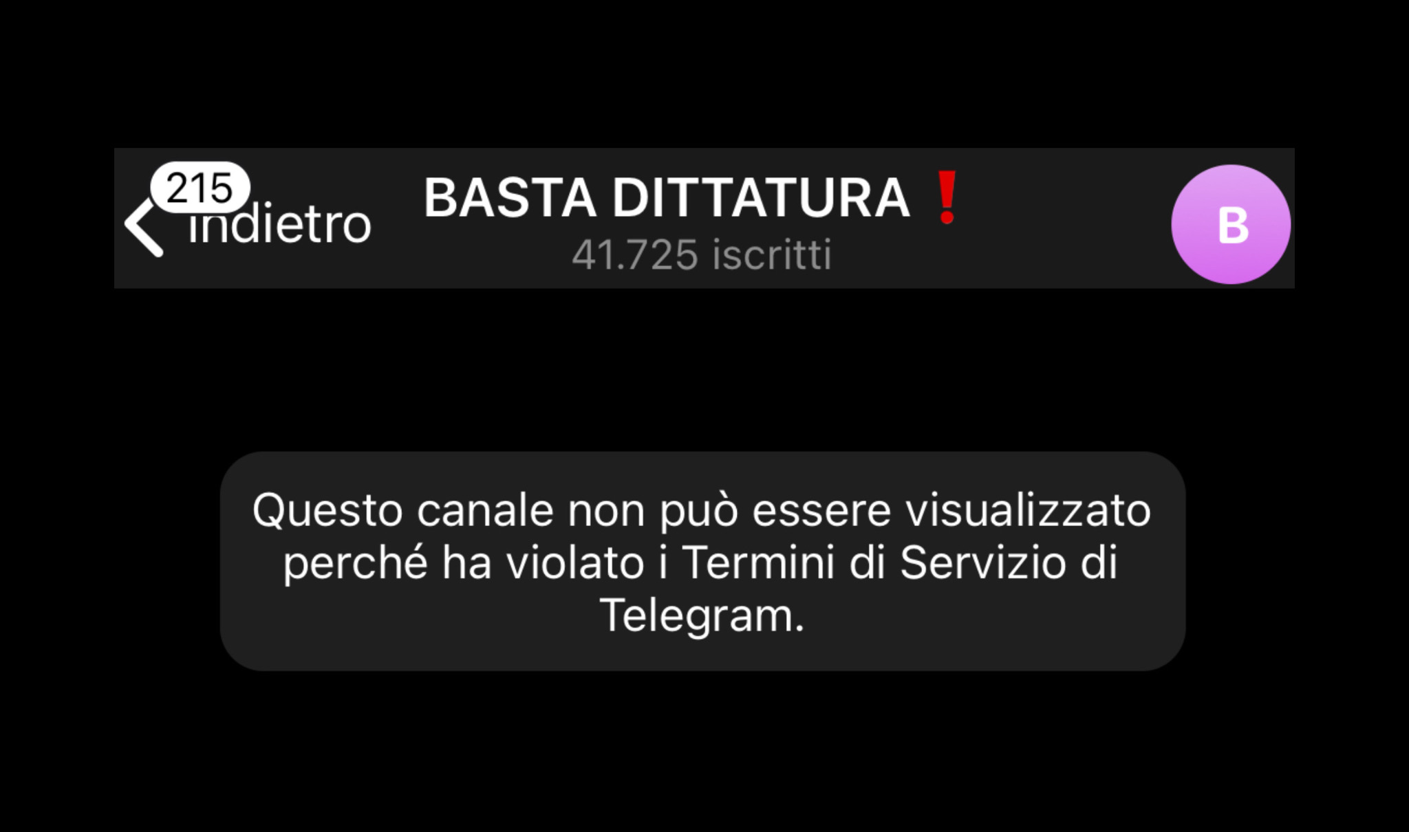 Telegram chiude Basta Dittatura