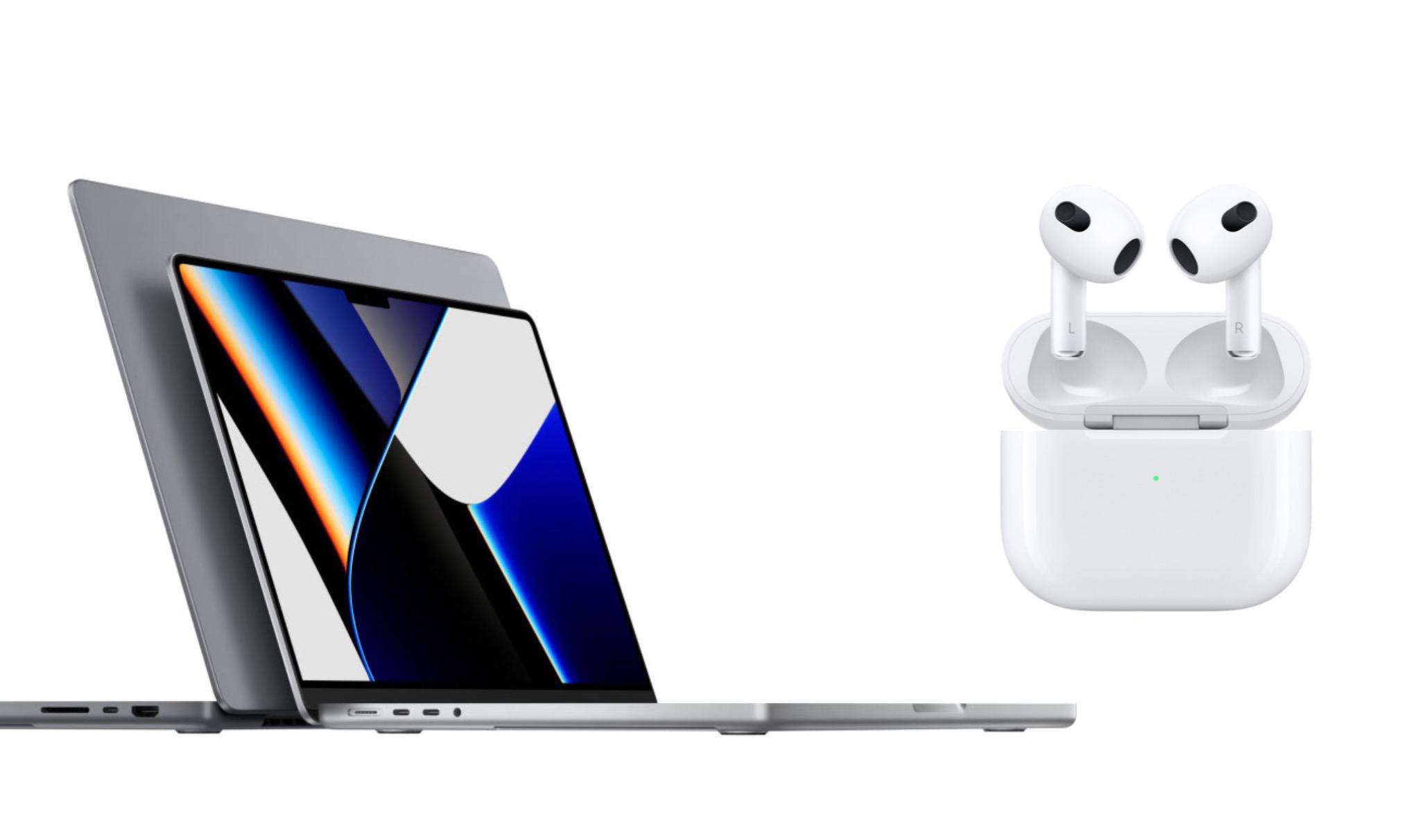 MacBook Pro da 14 e 16 pollici con AirPods 3