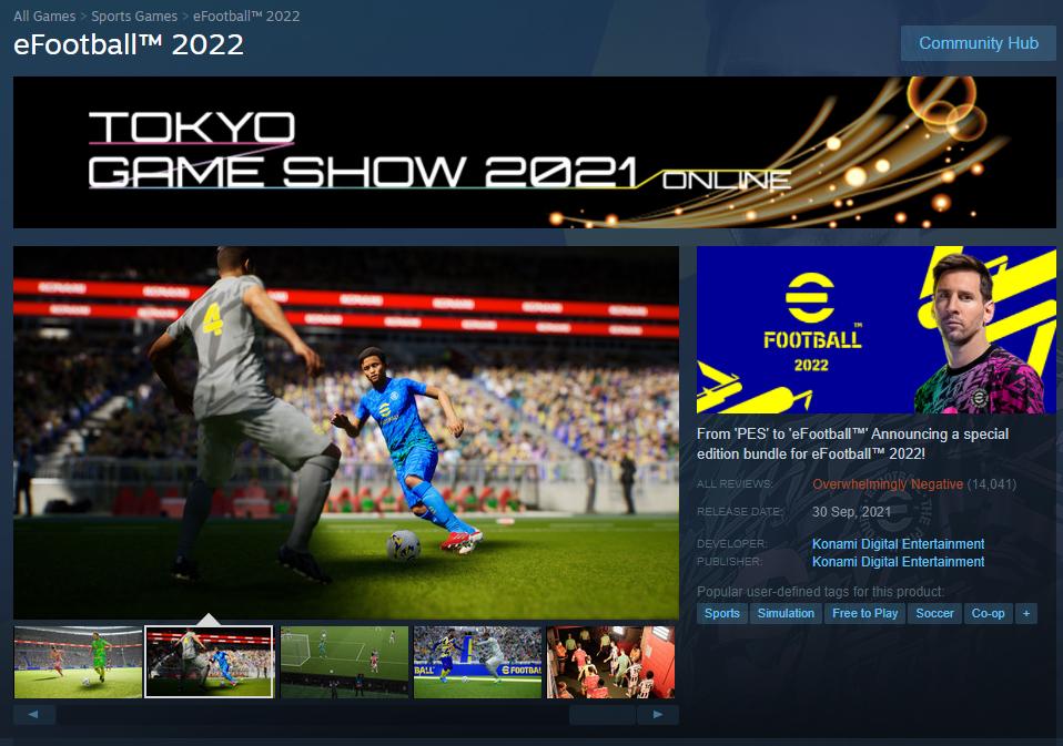eFootball 2022 pagina Steam