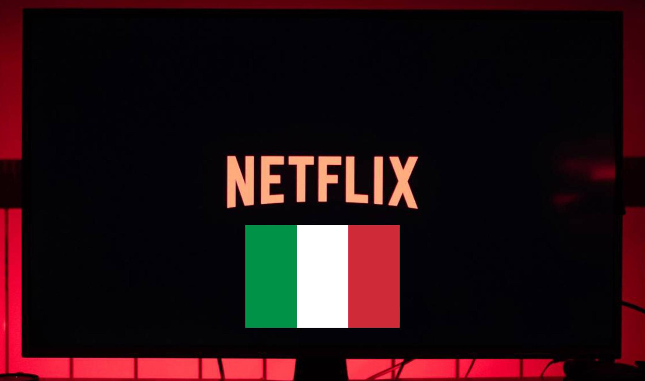 Netlix logo e bandiera Italia
