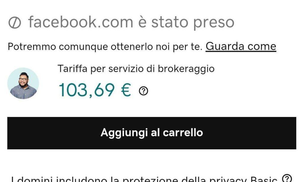 Facebook Down vendita dominio